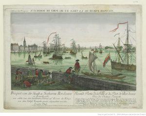Seconde partie de la Ville et du port de Bordeaux. Gravure de Leizel, 1770.